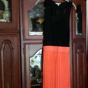 Charming Charlie  Hot Orange Black Maxi Dress